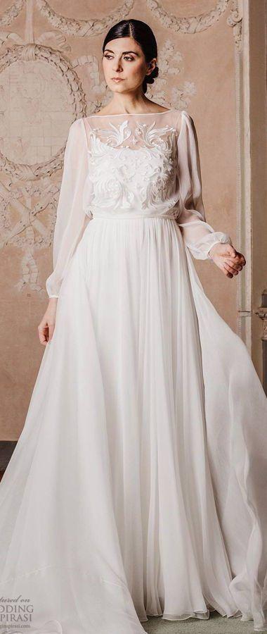 """Изысканное, романтическое свадебное платье с длинными рукавами и с вышивками ручной работы. Couture Hayez 2020 Wedding Dresses — """"High Society"""" Bridal Collection"""