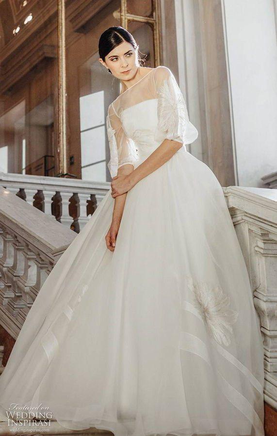 """Свадебное платье с воздушными рукавами 3 четверти, с прозрачным вырезом без бретелек, элегантный романтический шлейф с вышивкой. Couture Hayez 2020 Wedding Dresses — """"High Society"""" Bridal Collection"""
