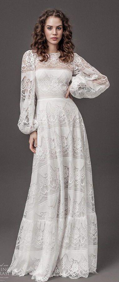 Свадебное, короткое, кружевное, романтическое платье с длинными рукавами, иллюзия более длинной шеи. Daalarna 2020 Wedding Dresses