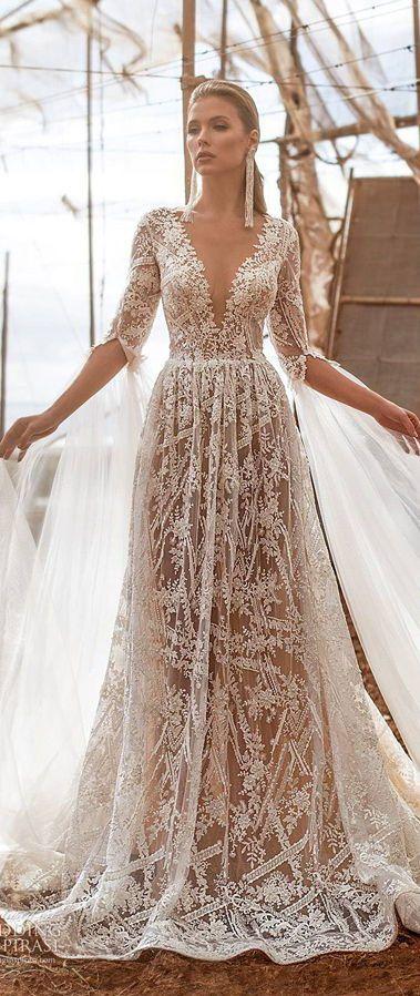 Роскошное свадебное платье с длинными рукавами, глубоким v-образным вырезом декольте. Новая коллекция 2020 от Ari Villoso