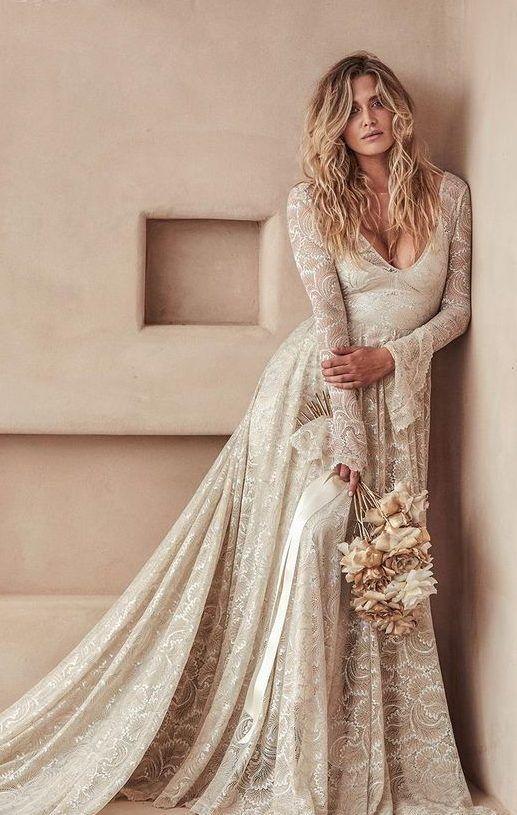 Оригинальное свадебное платье цвета слоновой кости, с длинными рукавами и шлейфом. Grace Loves Lace La Bamba Collection 2020