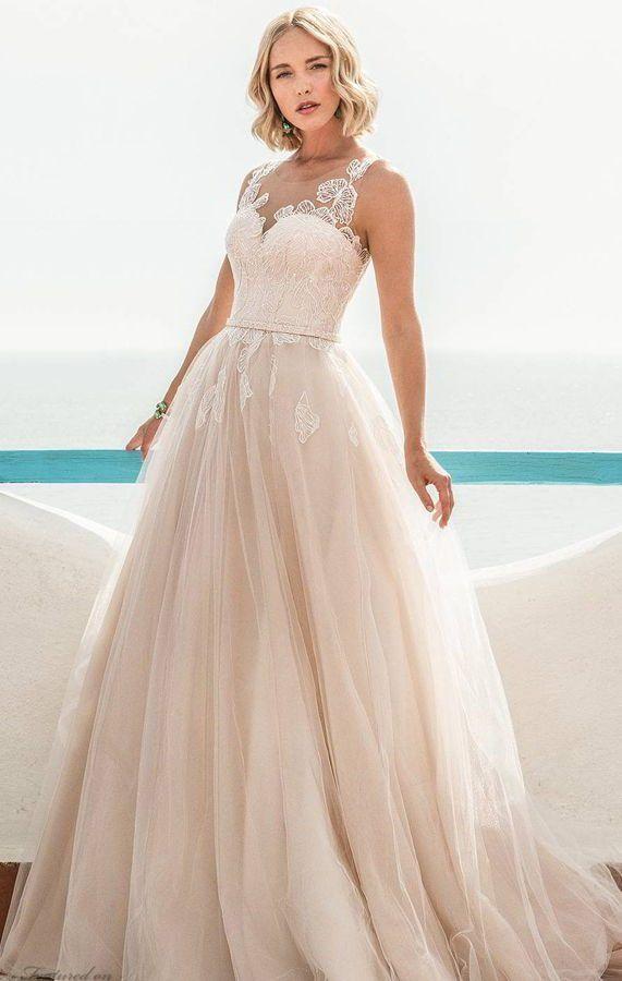 Романтичное, пышное, нежно-розовое свадебное платье, украшенное цветочным кружевом. Jillian Sposa 2020 Wedding Dresses.