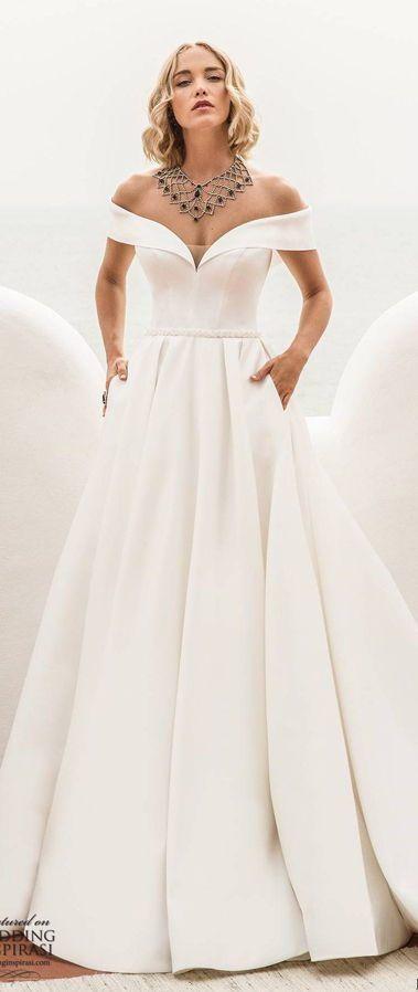 Элегантное, бальное, свадебное платье с милым вырезом декольте и открытыми плечами. Новая коллекция весна-лето 2020 от Jillian Sposa