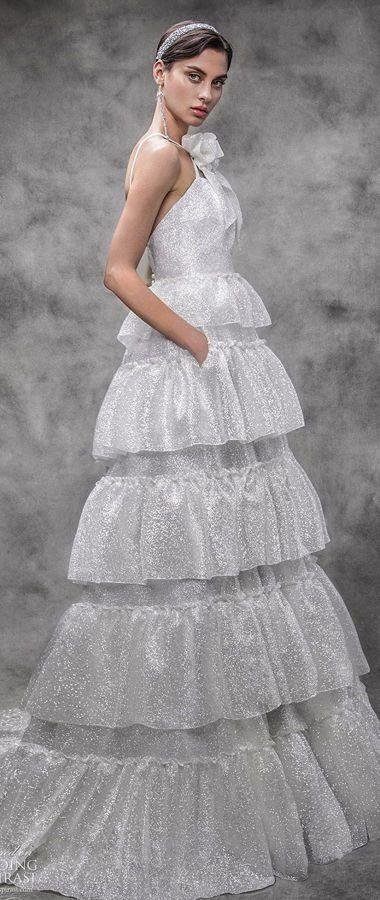 Свадебное платье с каскадными многослойными оборками из белых мерцающих кристаллов от Victoria KyriaKides. 2020 Bridal Collection