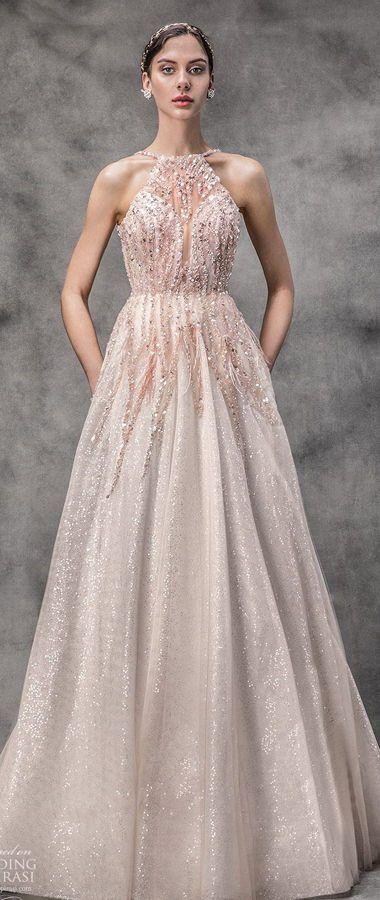 Пышное свадебное платье оттенка розовой пудры с волшебным мерцанием, с вырезом халтер. Victoria KyriaKides Spring 2020 Collection
