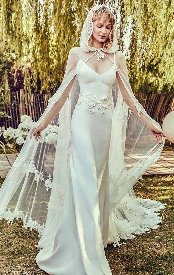 Элегантное свадебное платье-комбинация на тонких бретелях с прозрачной накидкой. Elisabetta Polignano 2020 Couture Wedding Dresses