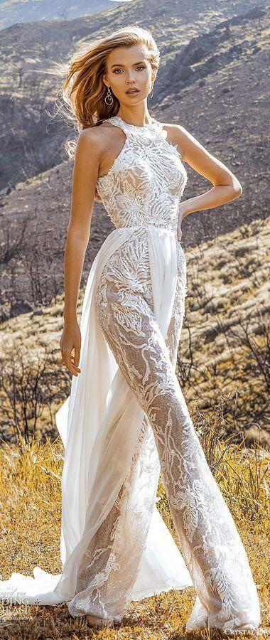Кружевной, свадебный костюм для невесты в стиле 70-х, со шлейфом и вырезом горловины