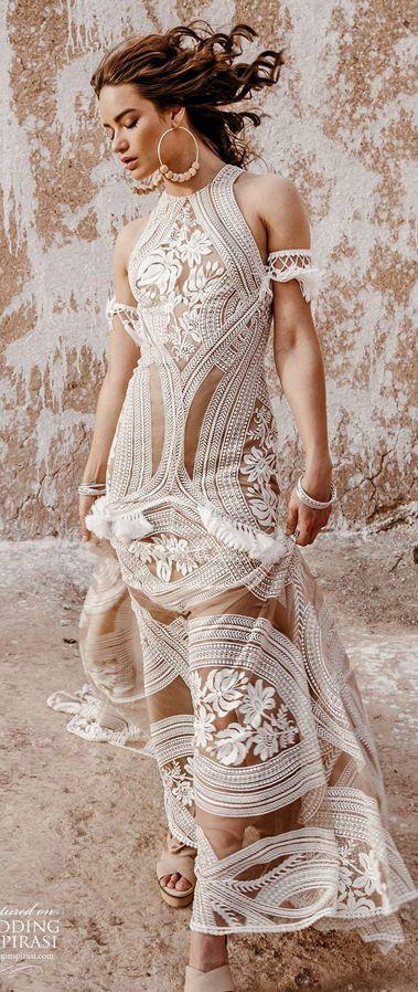 Романтическое, кружевное свадебное платье в стиле 70-х. Rue De Seine 2020 Wedding Dresses