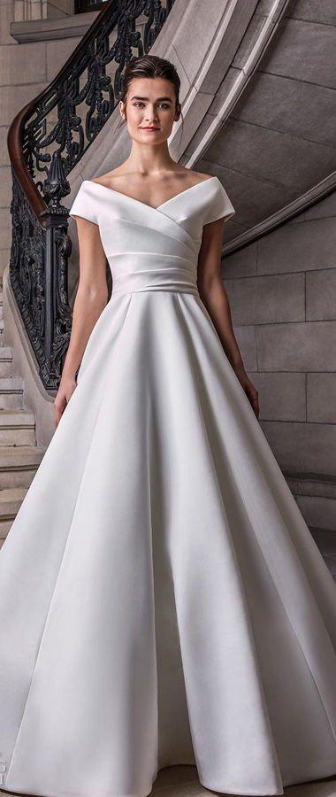 Атласное, пышное свадебное платье цвета слоновой кости в стиле Голливуда. Sareh Nouri Spring 2020 Wedding Dresses