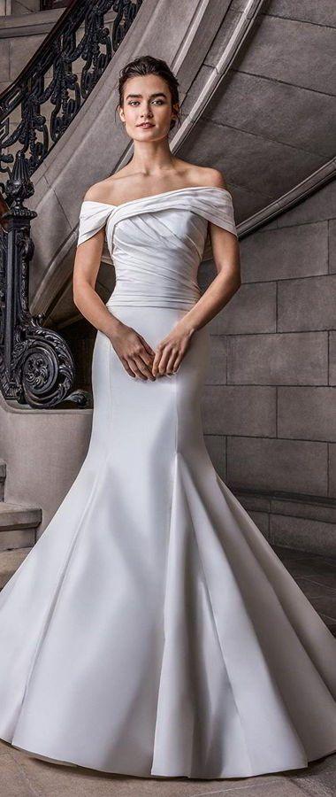 Великолепие свадебное платье цвета айвори силуэта «русалка» со спущенными бретелями в стиле Голливуда. Sareh Nouri Spring 2020 Wedding Dresses