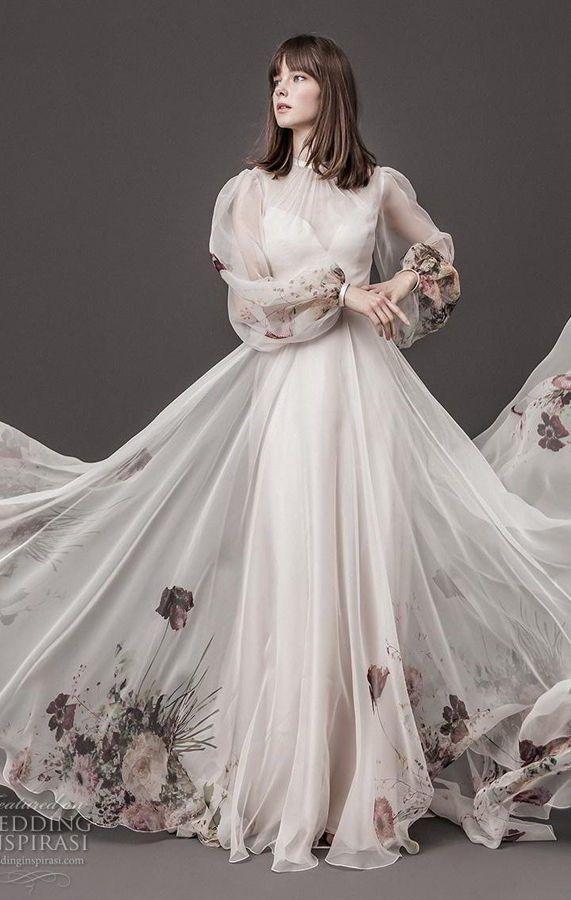 Пышное, нежное свадебное платье с воздушными рукавами и цветочным узором. Daalarna Couture Wedding Dresses Spring 2020