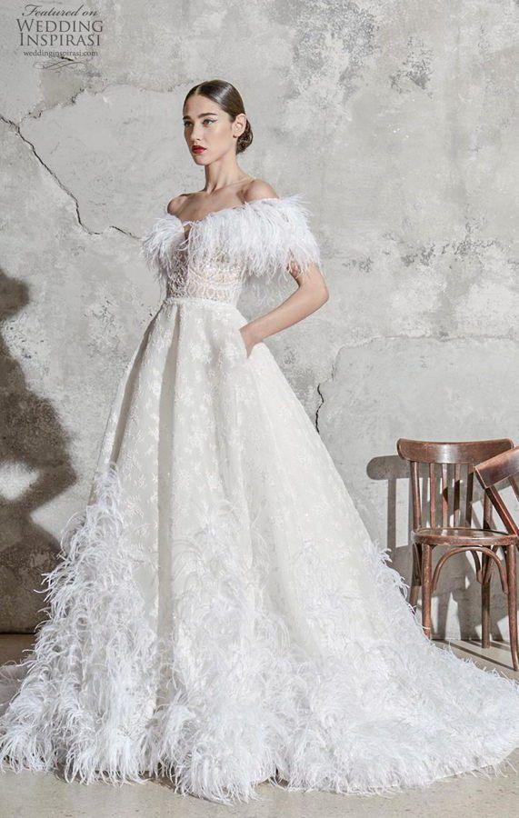 Эксцентричное, пышное свадебное платье из фактурной плотной ткани, гипюра и перьев от Zuhair Murad. Свадебные Платья 2020 Модные Тенденции