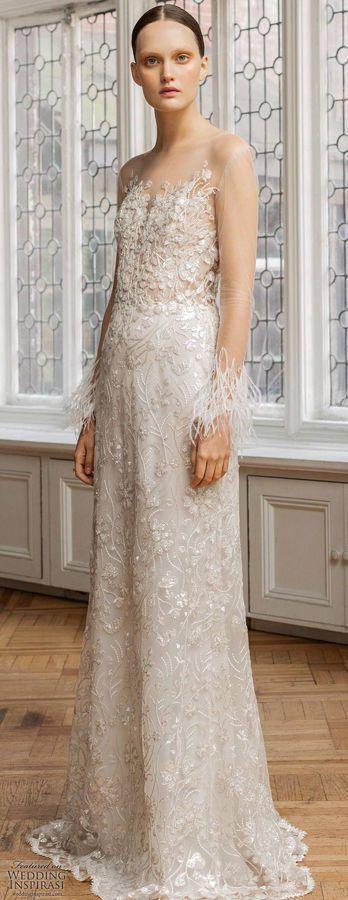 Свадебное платье с цветочным узором и длинными, прозрачными рукавами, украшенными перьями. Francesca Miranda Spring 2020 Wedding Dresses