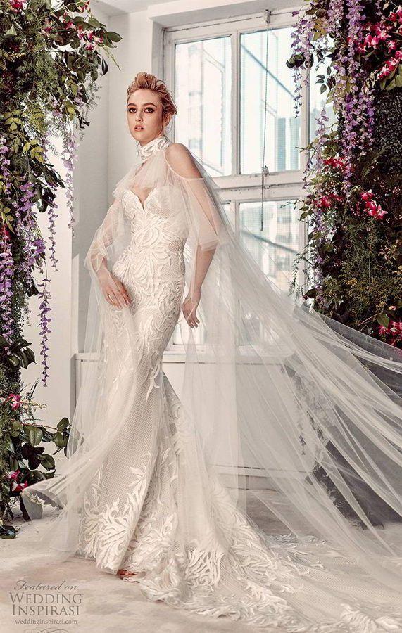 Cвадебное платье со шлейфом и длинной накидкой. Rivini by Rita Vinieris Spring 2020 Bridal Collection
