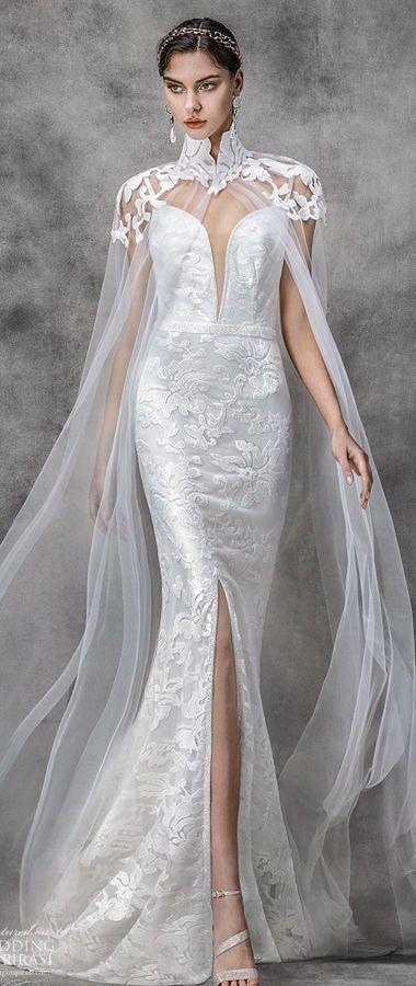 Свадебное платье с длинной, прозрачной накидкой на плечи из шифона от Victoria KyriaKides. Bridal Spring Collection 2020