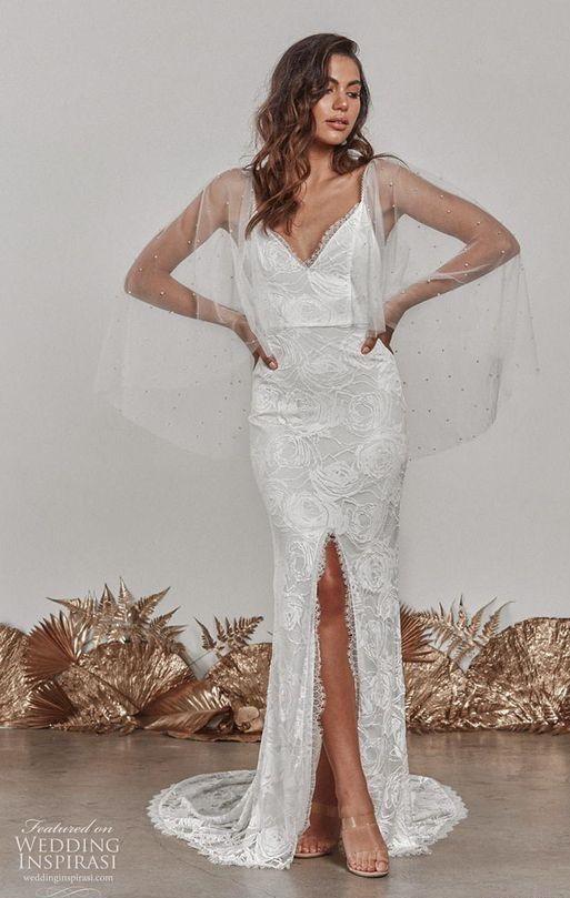 Свадебное платье с нежной прозрачной накидкой. Grace Loves Lace Wedding Dress 2020