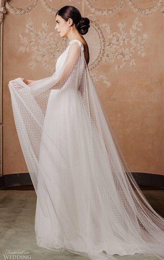 Свадебное платье с длинной накидкой. Couture Hayez 2020 Wedding Dresses