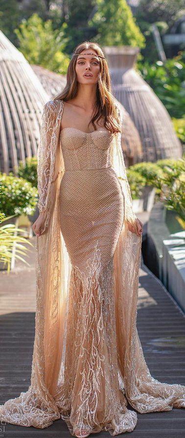 Волшебное свадебное платье без бретелей приятного бежевого цвета силуэта «русалка» от Milla by Lorenzo Rossi 2020 Wedding Dresses